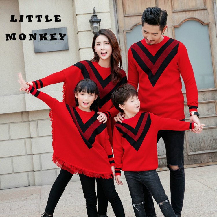 Household Matching Garments Bat Sleeves Sweater Mom And Daughter Garments Girls Material Dad Mother Child Matching Outfits