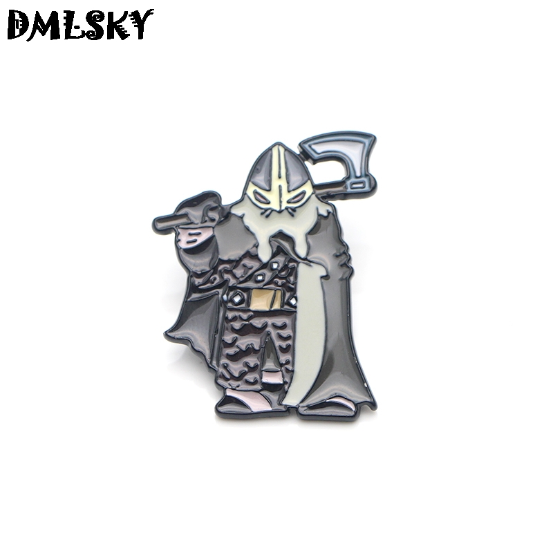 DMLSKY 20pcs/lot Nordic Viking Warrior Brooch Metal badge Women and Men Enamel Pins Brooches for Clothes Bags Collar Pin M3091-in Brooches from Jewelry & Accessories    1