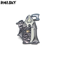 DMLSKY 20pcs/lot Nordic Viking Warrior Brooch Metal badge Women and Men Enamel Pins Brooches for Clothes Bags Collar Pin M3091