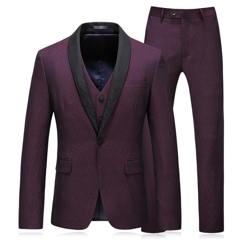 Plus size 5xl 3 stuks pakken voor mannen slim fit nieuwe merk man wijn rode trouwpak bruiloft smoking-in Pakken van Mannenkleding op  Groep 1