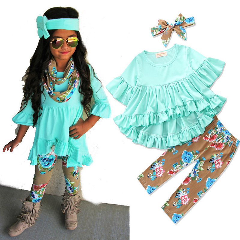 3PCS Toddler Kids Baby Girls Outfits T-shirt Tops Dress+Jeans Pants Clothes Sets