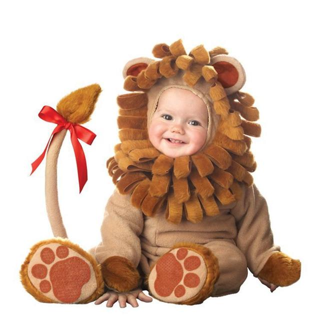 2016 Carnaval de Natal Xmas Halloween Infantil/Meninos Da Criança Do Bebê Traje Animal Leão Macacão Conjunto de Roupas