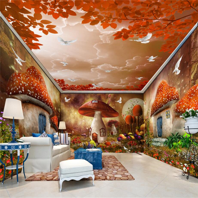 Beibehang Dream Fairy Tale Mushroom House Forest Wall