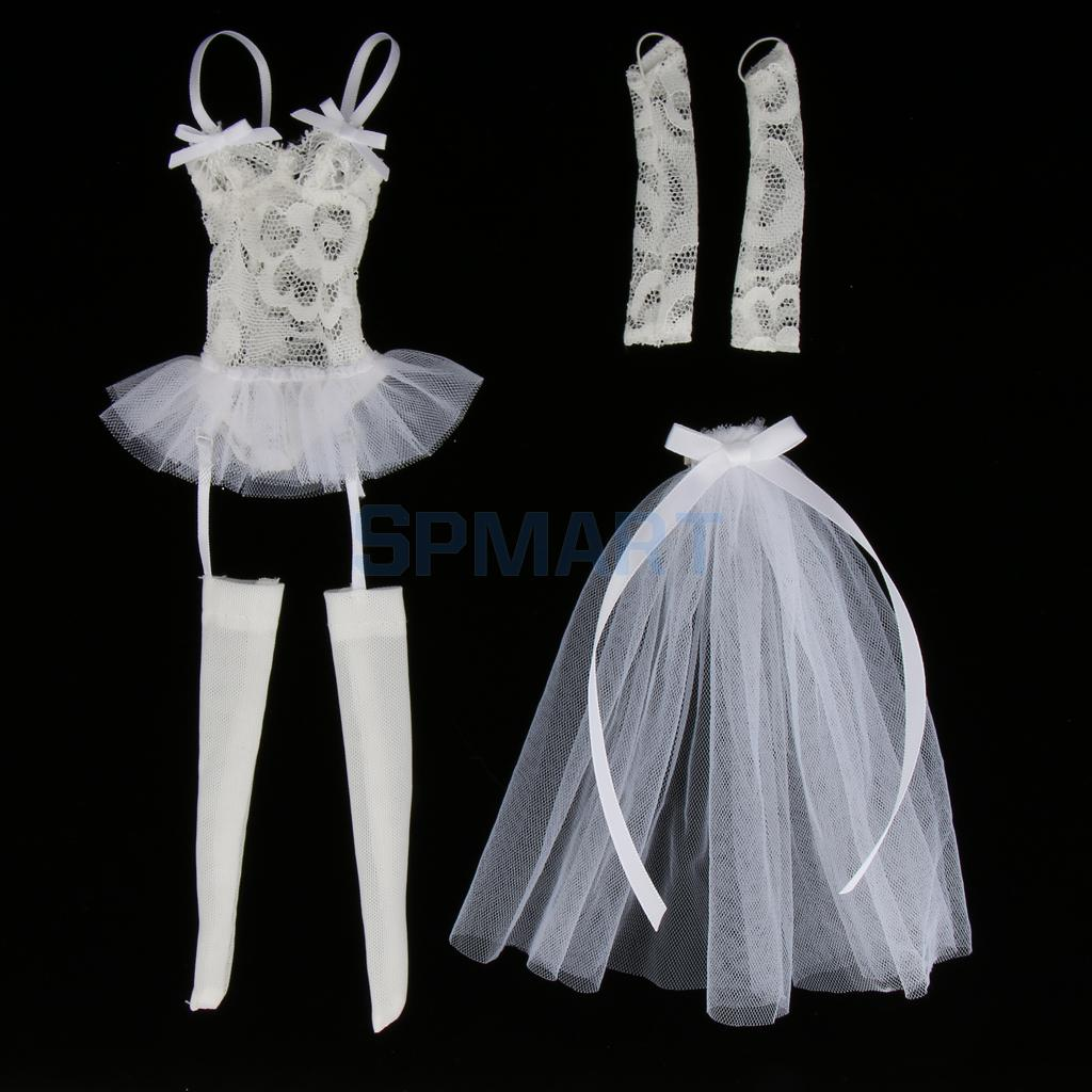 1:6 White Wedding Gown Dress with Veil Set for 12/'/' Hot Toys Phicen Figure
