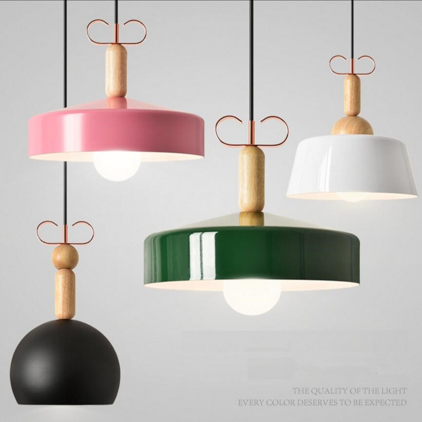 Modern pendant lamps aluminum wood indoor lights LED lightings fixture colorful The restaurantliving dining bedroom shop store managing the store