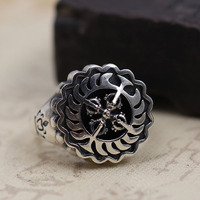 pure silver ornaments make Thai old silver cross vajra rotating ring Men and women style restoring ancient ways ring