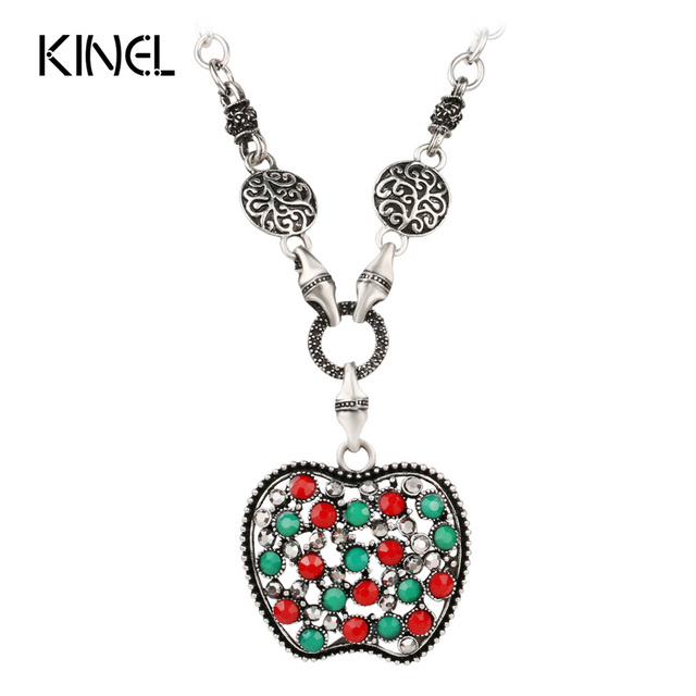 Vintage jewelry apple pendant necklace for women bohemian style vintage jewelry apple pendant necklace for women bohemian style colorful resin crystal color silver choker necklace mozeypictures Image collections