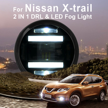 цена на 2014-ON For Nissan X-trail Led Fog Light with DRL Daytime Running Lights with Lens Fog Lamps Car Styling Led Refit Original Fog