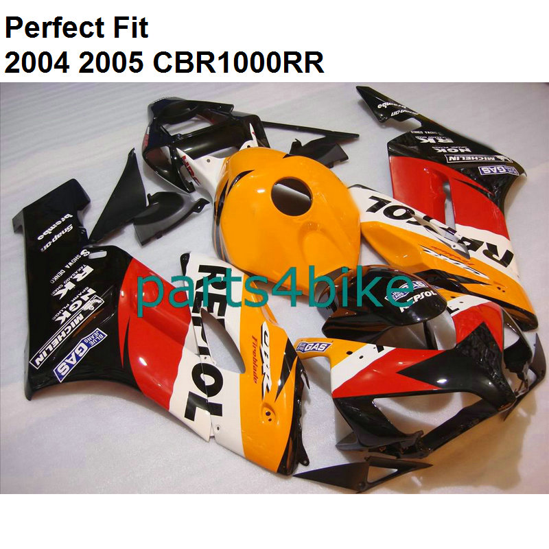 Di alta qualità ABS carenatura per CBR 1000RR 2004 2005 arancione nero kit carenature CBR1000RR 04 05 + libero customize IT41