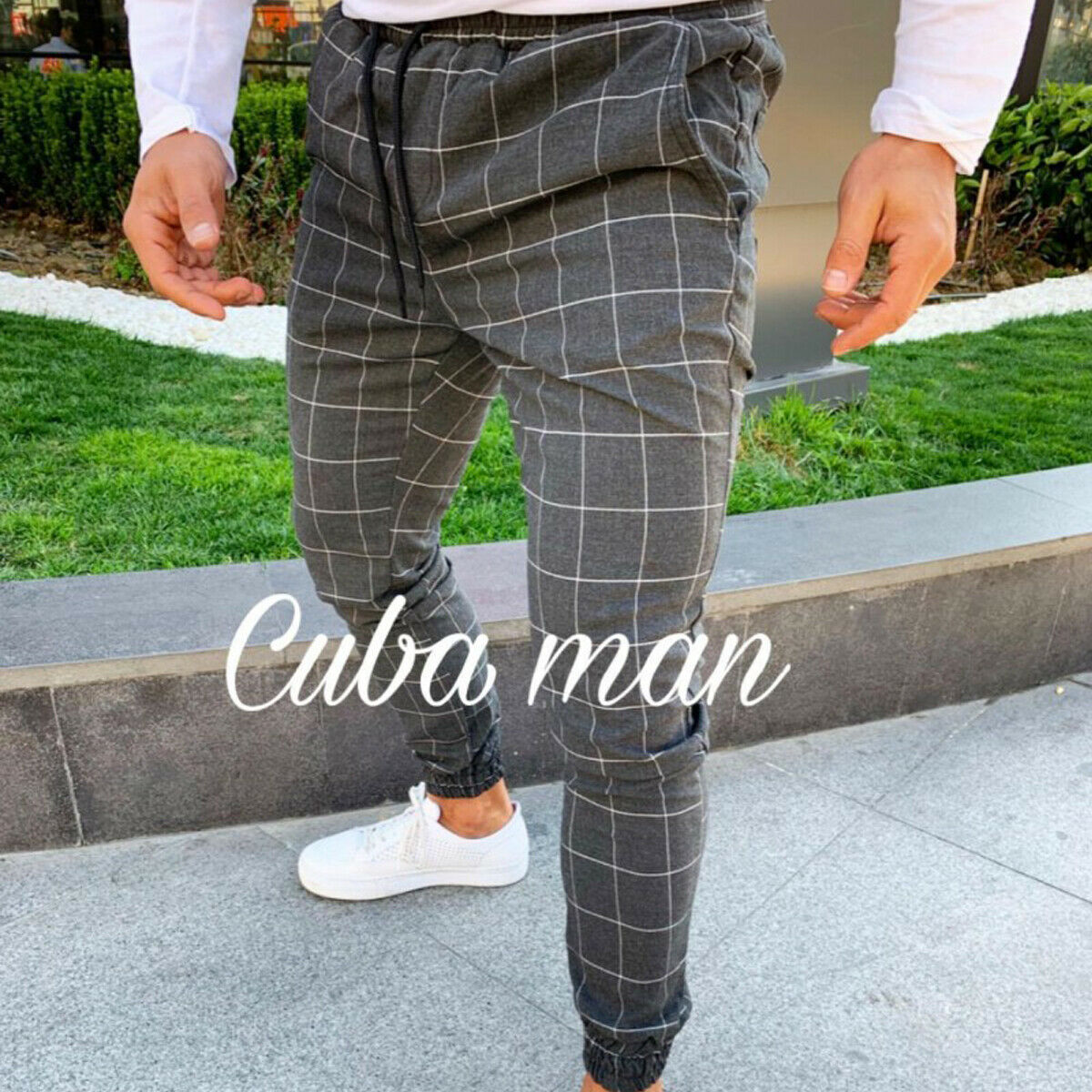 2020 sexy high wasit spring summer fashion pocket Men's Slim Fit Plaid Straight Leg Trousers Casual Pencil Jogger Casual Pants 4