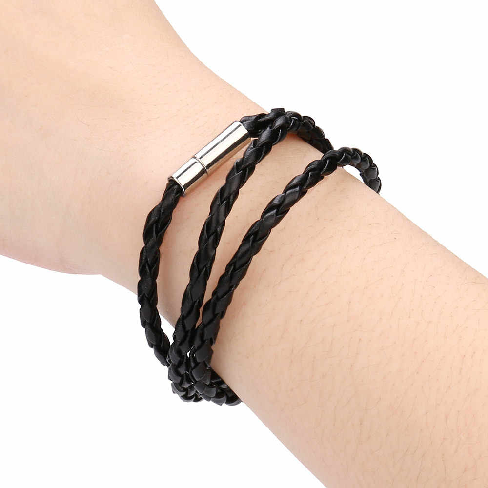 Korean New Fashion Womens Mens Black Leather Interlaced Cuff Bangle Wristband Bracelet Women's unique Dropship accessories