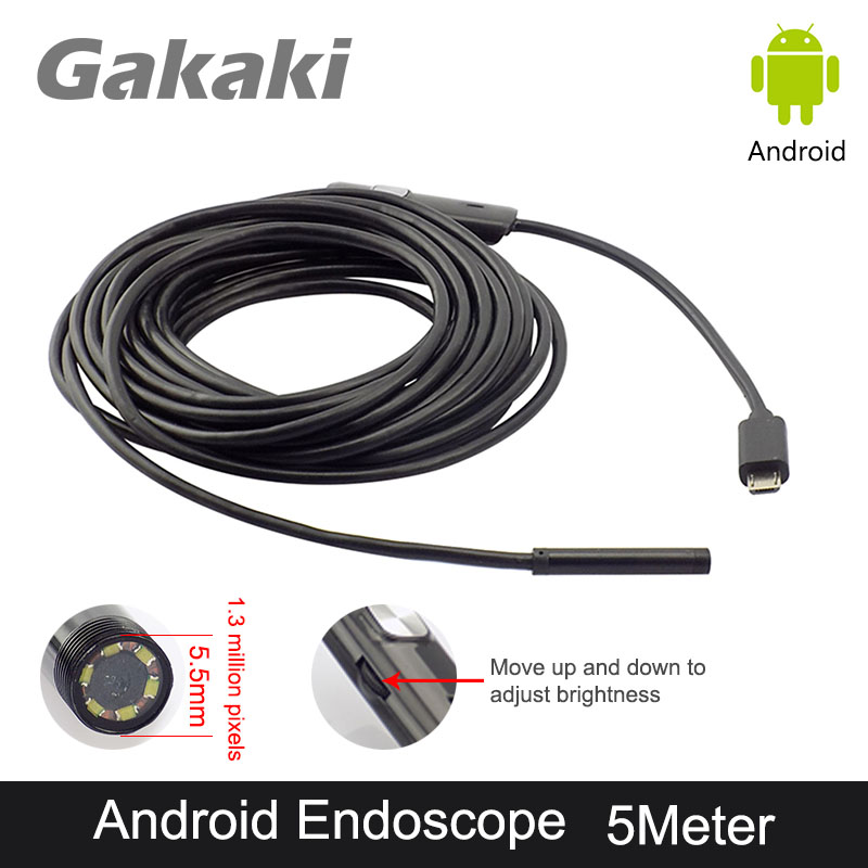 Gakaki OTG USB 5.5mm Endoscope Camera 5M Android Phone Borescope Snake Tube Pipe Inspection Camera Micro USB Endoscopio Camera gakaki hd 8mm lens 20m android phone camera wifi endoscope inspection camera snake usb pipe inspection borescope for iphone ios