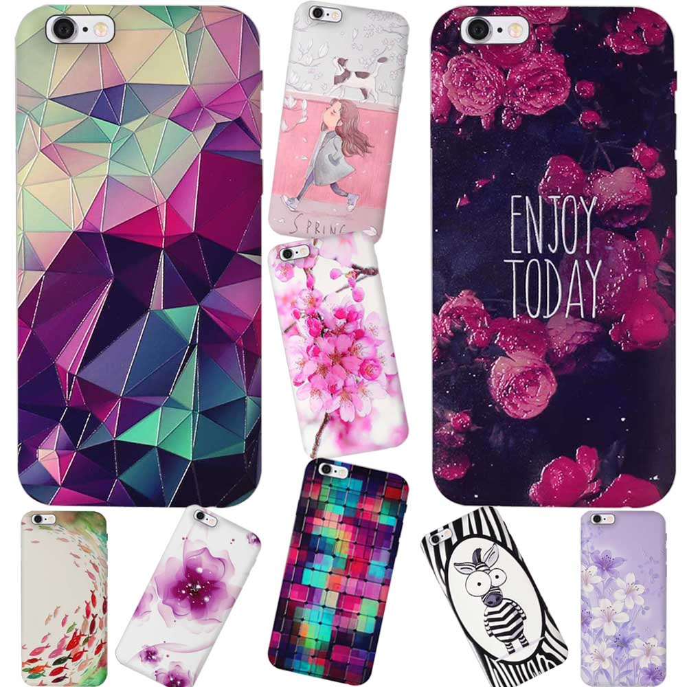 Colorful Luxury 3D Flower Pattern Apple Iphone 5 5S Cases Cell Phone Soft TPU Back Cover For Iphone SE