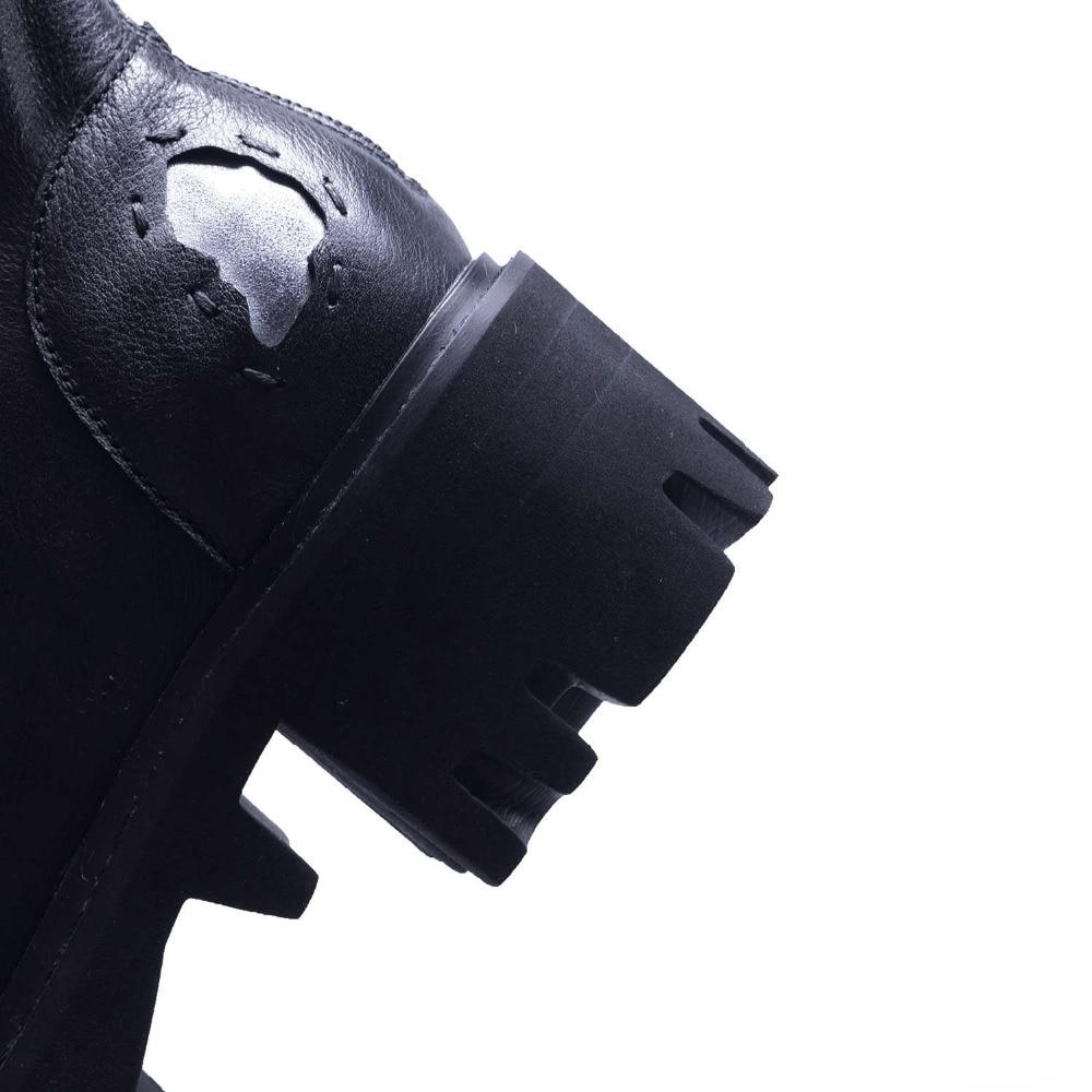 Plissée Talons Naturel Bout Rétro Moto Rond Patch Cuir Plate Noir Zipper En Rock L87 forme Conception Épais Bottes Med Lenkisen 06xCq0
