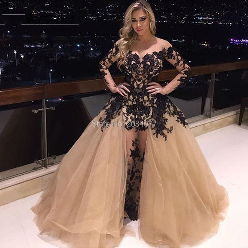 Champagne Prom Dress Removable Skirt Long Lace Evening Gown Robe De