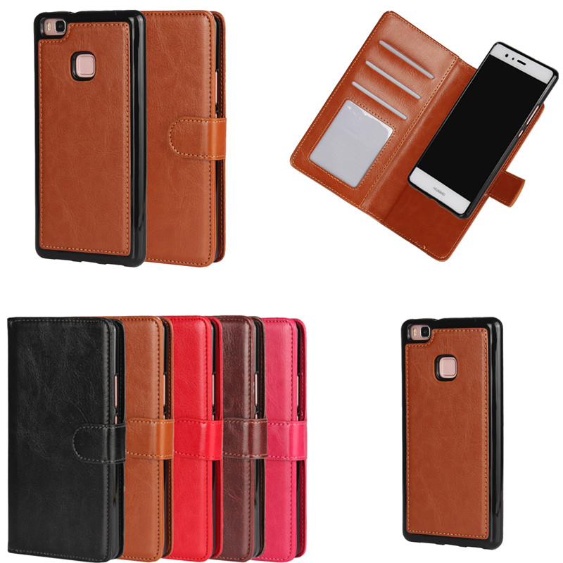 For Huawei P9 P8 Lite 2 in 1 Detachable Magnetic Case Wallet Leather Cover Carcasas Coque For Huawei P8 P9 Lite Etui Capinhas