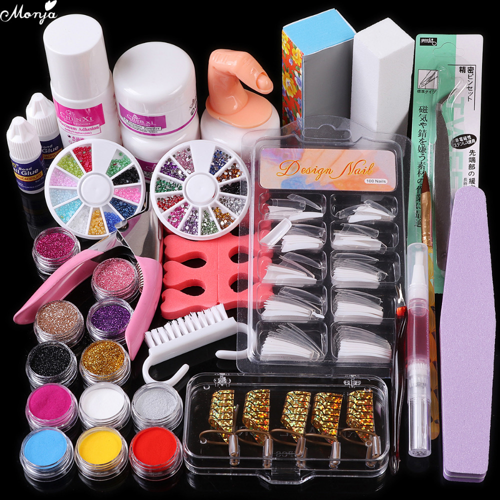 Nail Art Acrylic Powder Liquid Glue Brush Guide Form Tweezer Rhinestones Glitter False Tips Buffer Files Manicure Tools Kit Set
