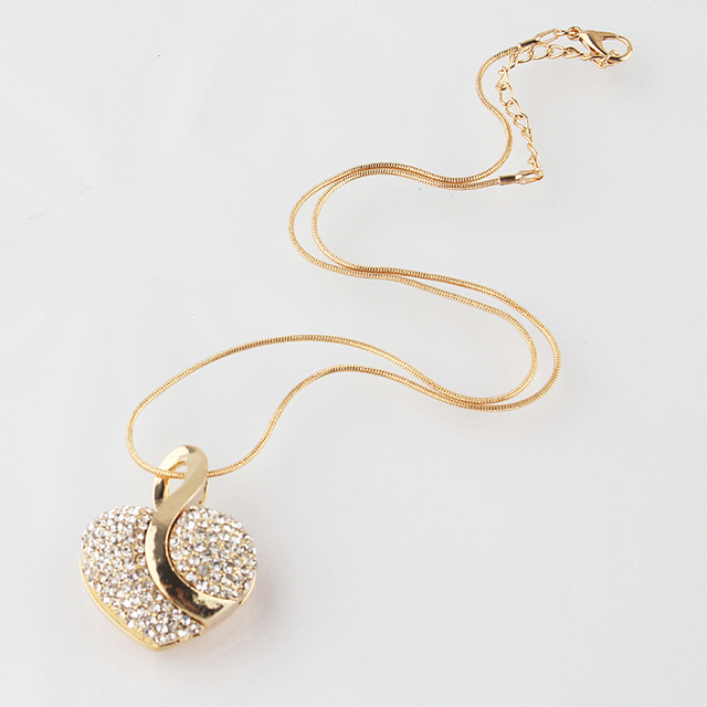 Free shipping Fashion Jewelry Luxury Gold-color Romantic Austrian Crystal heart shape Chain Necklace Earrings Jewelry Sets 3