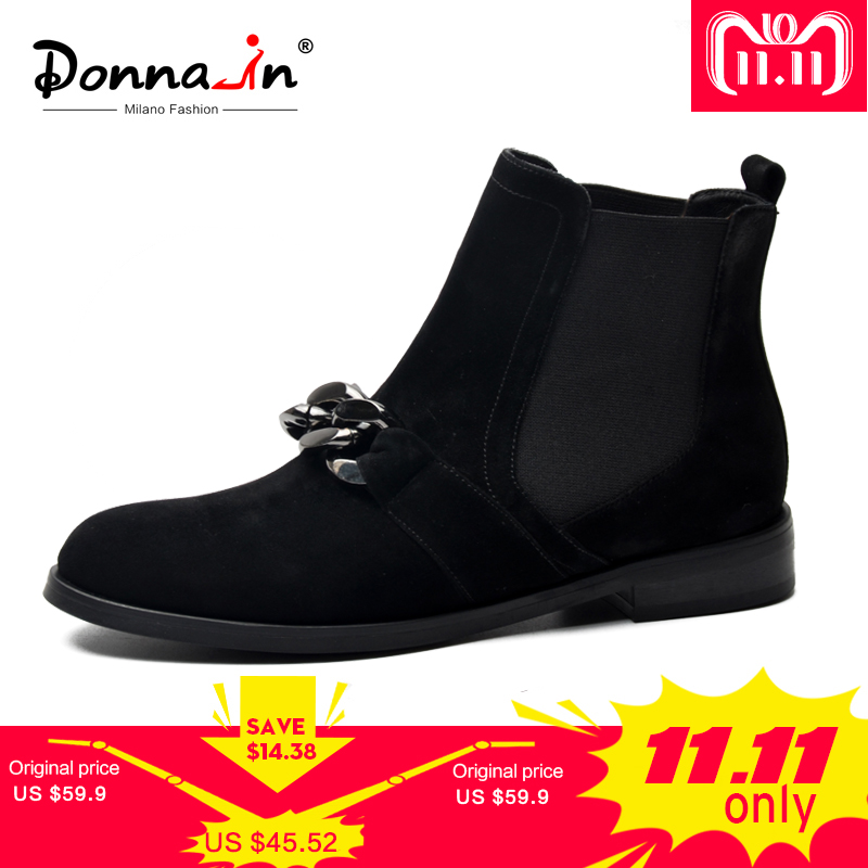 цены Donna-in Chelsea Booties Women Genuine Leather Ankle Boots Metal Chains Natural Suede Low Heels Boots Fashion Spring Ladies Shoe