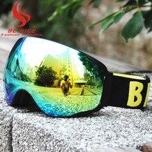BE NICE large spherical ski goggles UV protection Snowboard Snowmobile anti fog Ski Goggles outdoor Sports for adult SKI4200