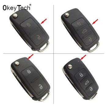 3 boutons pliant clé de voiture Switchblade clé Flip clé Shell pour VW polo passat b5 Tiguan Golf VOLKSWAGEN siège Skoda clé automatique blanc