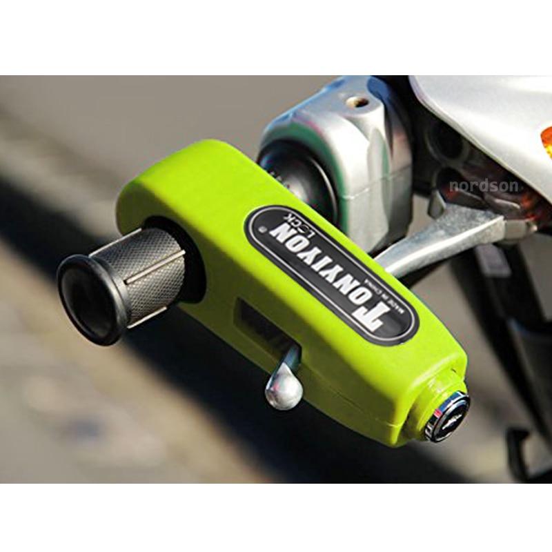 New Universal Motorcycle Handlebar Lock Aluminium CNC Motorbike font b Handle b font Theft Protection Lock