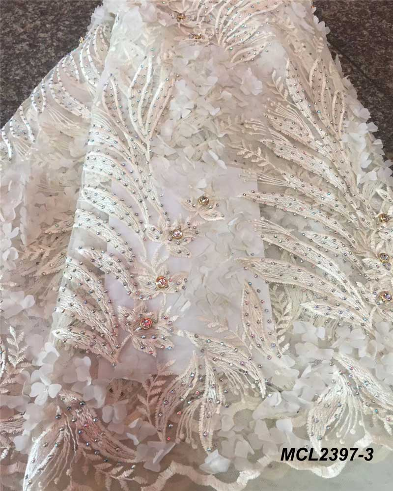 Buy heavy hand beaded 3d grey lace fabric for Wedding dress fabric stores