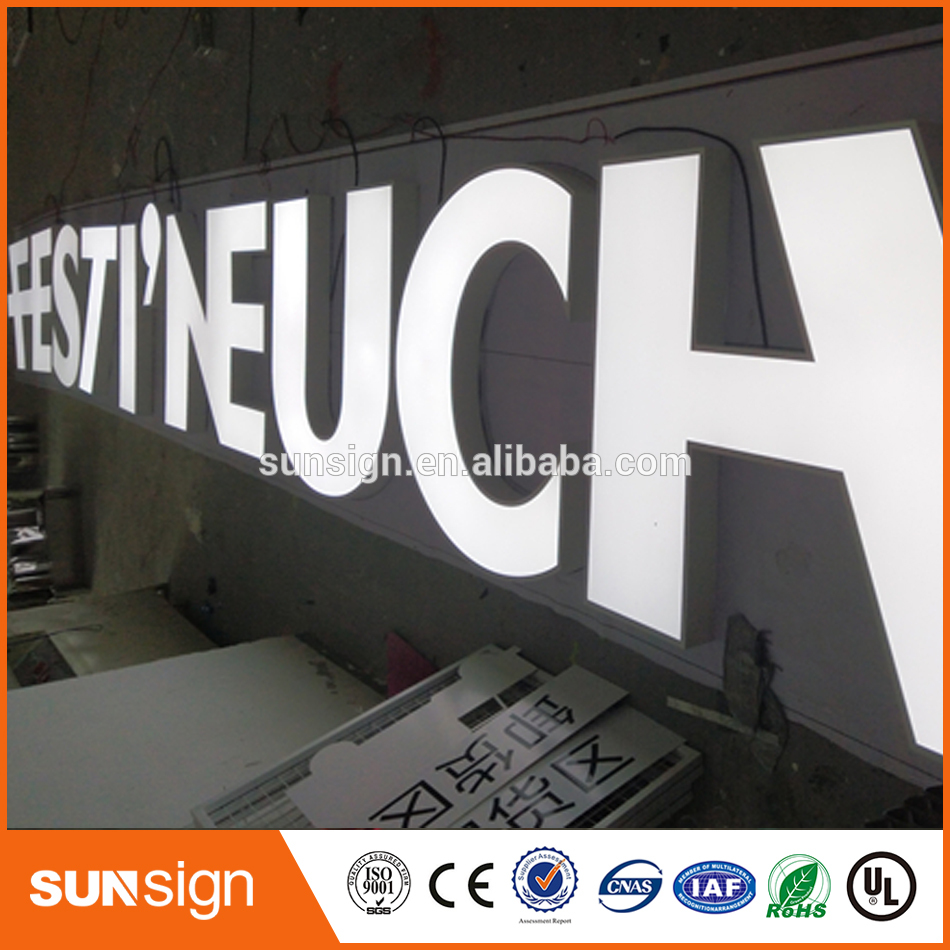 New Product Resin Frontlit Illuminate Led Letter Sign