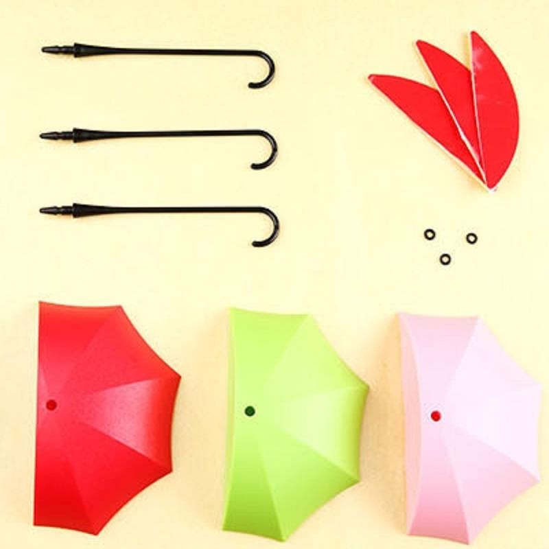 3Pcs Umbrella Adhesive Wall Hook Bathroom Hanger Clothes Rack Towel Coat Home Organizer Holder Decoration Accessories In Hooks Rails From Garden On