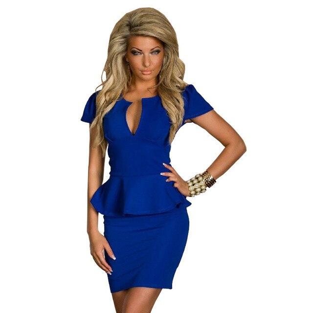 Formal Pencil Office Bodycon Dress Lady Work U Neck OL Sexy Peplum Bandage Dress  Black White Blue Red Plus Size M L XL XXL C0367 335c31d7edd4