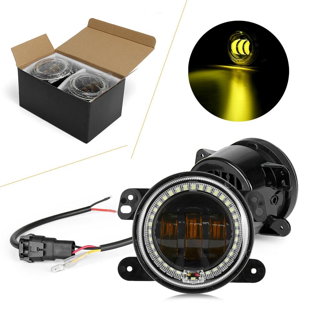 цена на LED Projector Fog Lights Driving Lamp+White DRL For Jeep Wrangler Grand Cherokee & for Dodge journey Magrum Charger Chrysler 300