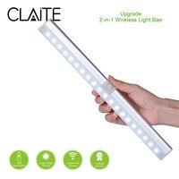 CLAITE портативный 20 светодиодный USB Перезаряжаемый светильник, датчик PIR Mtion, шкаф, светильник, ночник для кухни, лестницы, шкаф