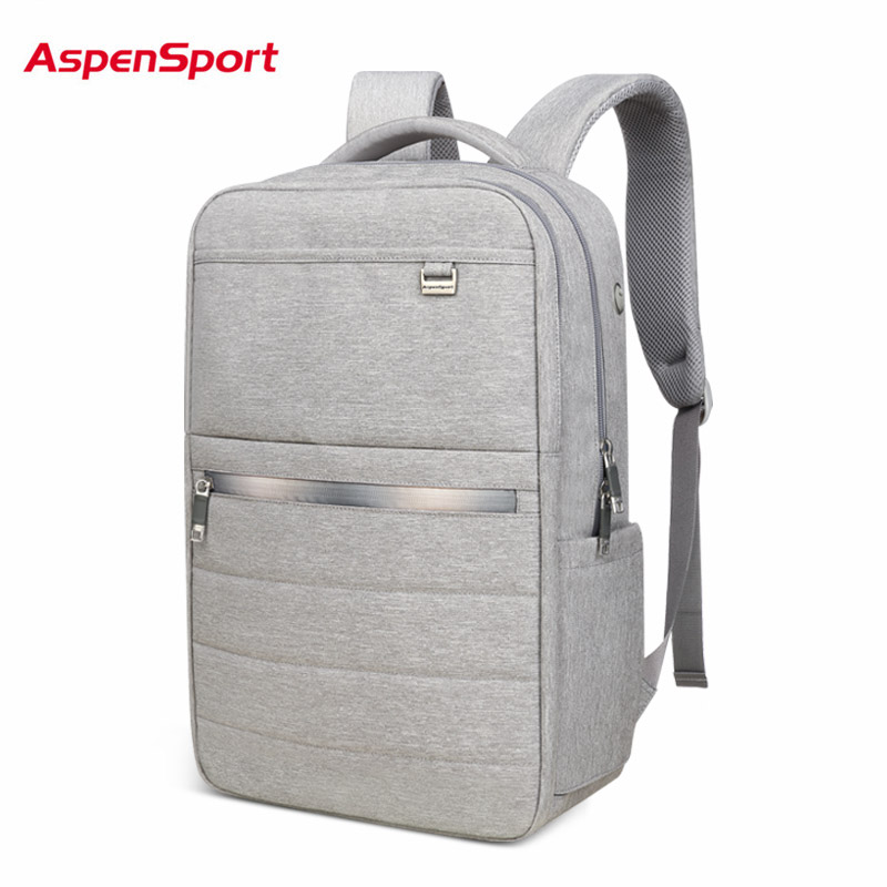 AspenSport Business Backpacks For Men Light School Bags Male Laptop fit 15.6-17 Inch Notebook Computer Travel  Boy bag Grey/Navy jacodel laptop bagpack 15 inch notebook backpack travel case computer pc bag for lenovo asus dell notebook 15 6 inch school bags