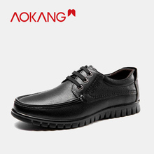 AOKANG 2019 Men dress Shoes genuine leather business fashion  lace up men round toe shoes