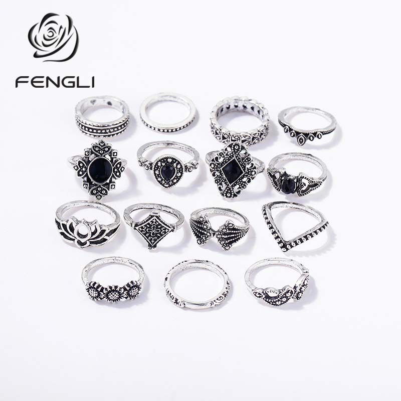 FENGLI 15 Style Vintage Hollow Rings for Women Girl Bohemian Retro Black Crystal Flower Drop Water Wedding Anniversary Gift