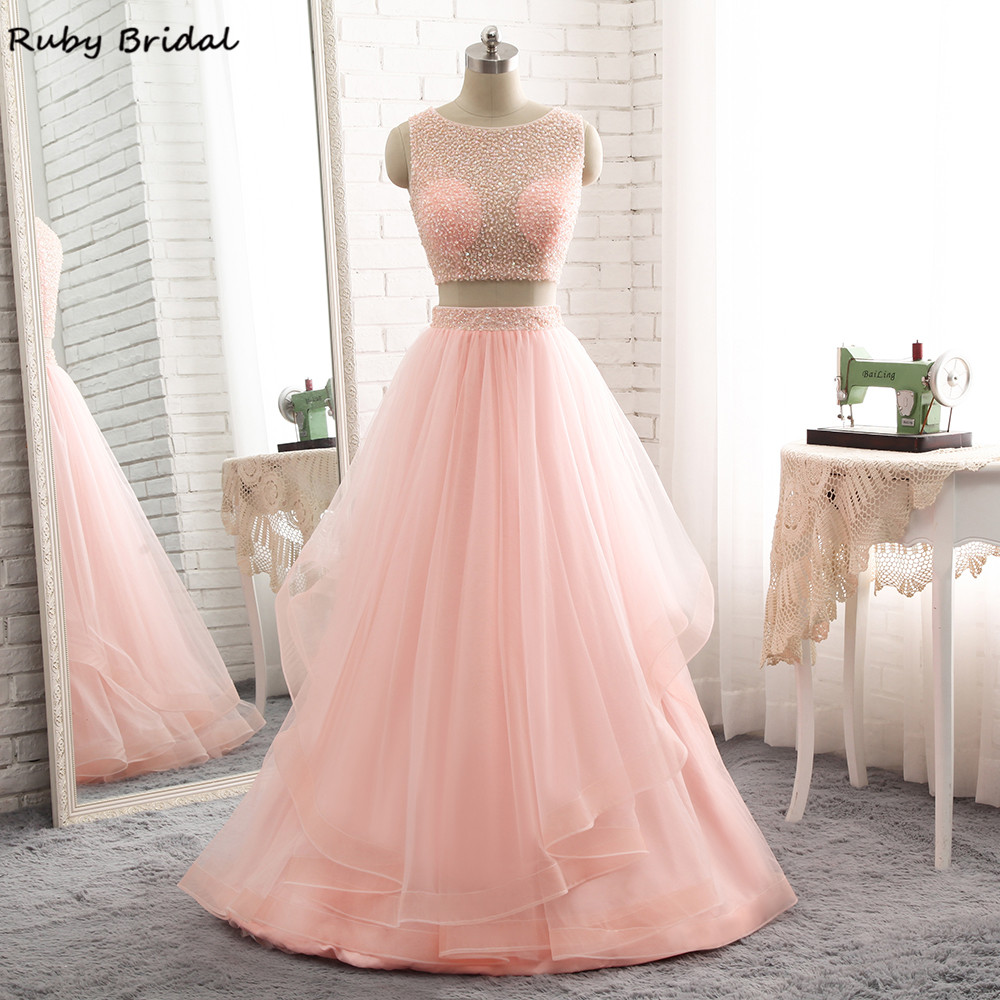 Ruby Bridal Luxury Long A-line Evening Dresses Sexy Pink Tulle Beaded Vestido De Festa Cheap Two Pieces Prom Party Gown <font><b>R308</b></font> image