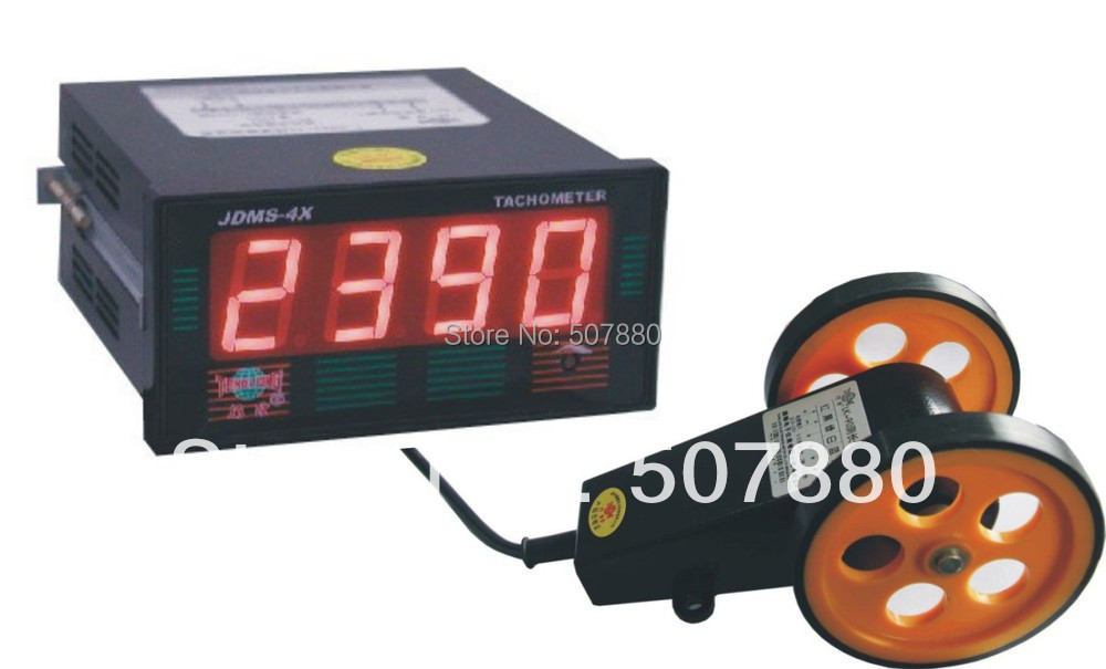 JDMS-4HDZ+LK-90  LED digital tachometer speed meter with length measuring wheel display the length unit  in RPM or RPS high quality digital length counter meter with length measurment wheel