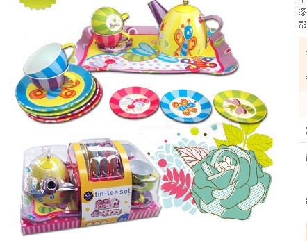 colorful Children play house toys Simulation kitchen tinplate Tea girl Tea Tea Set Gift Box cow spots decorative stair stickers