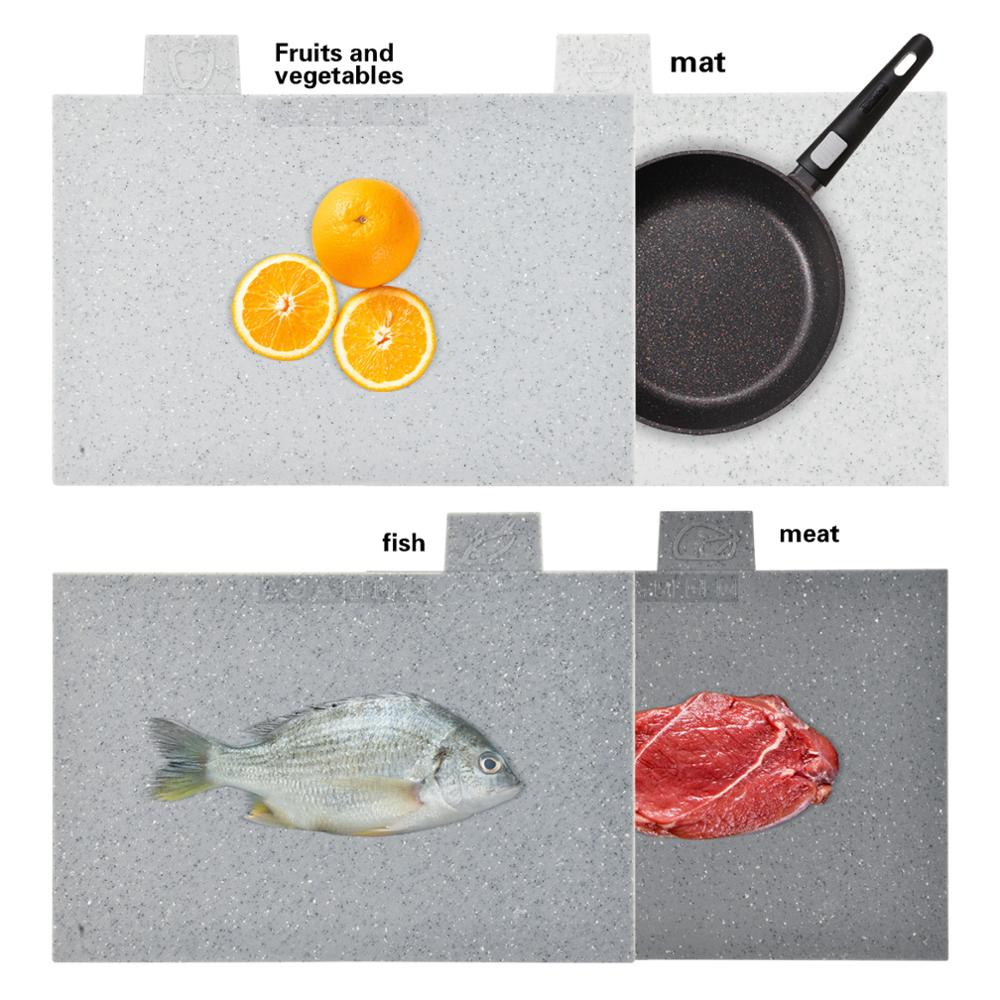 Image 2 - Fissman Anti Bacterium Plastic Chopping Block Non slip Marble  Coating Plastic Mats Cutting Board with Stand 4pcs SetsChopping Blocks