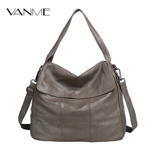 2017 Limited Pocket Soft Hot Genuine Leather Women Hobos Handbag Brand Plaid Design Simply Style Shopping Shoulder Bag Popular