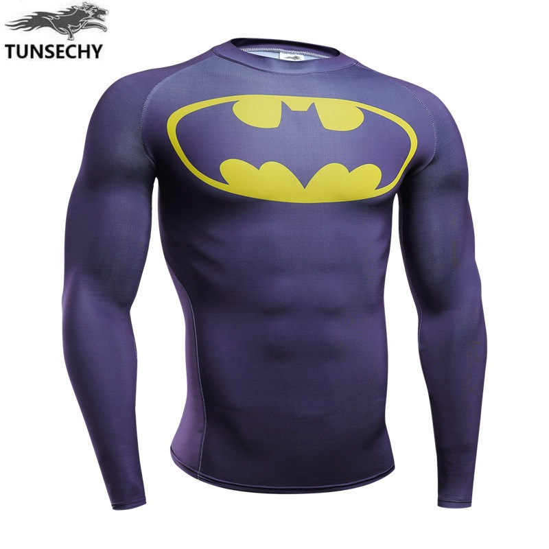 TUNSECHY 2018 Brand summer fashion round neck long sleeve T-shirt quick-drying compression lycra T-shirt XS - 4XL free shipping