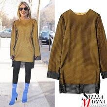 New 2017 European Women Spring Full Sleeve O-Neck Tee Top Black Yellow T Shirts Holes Double Layered Stylish Long T-Shirts 2185