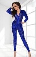 Женская Сексуальная певица хип-хоп в джазовом стиле для ночного клуба, Боди для танцев Рианны, сценические костюмы, одежда для певцов, 5 цветов, джазовый костюм - Цвет: Синий