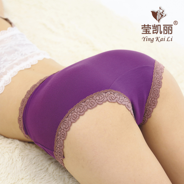 Women's underwear high waist cotton lace sexy briefs