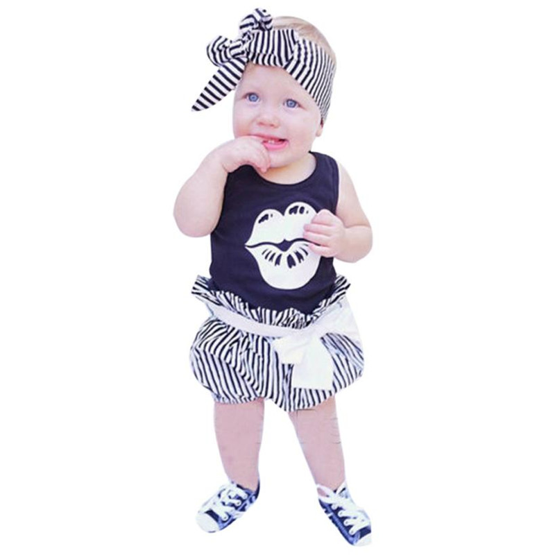 3Pcs Infant Baby Girl Clothes Lip Romper Tops Headband Striped Shorts Pants Outfits Set baby girls clothes for newborns