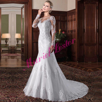 Robe De Mariee 2019 Illusion Back Mermaid Long Bride Plus Size Wedding Dress Appliques Bridal Wedding Gown Vestidos De Novia