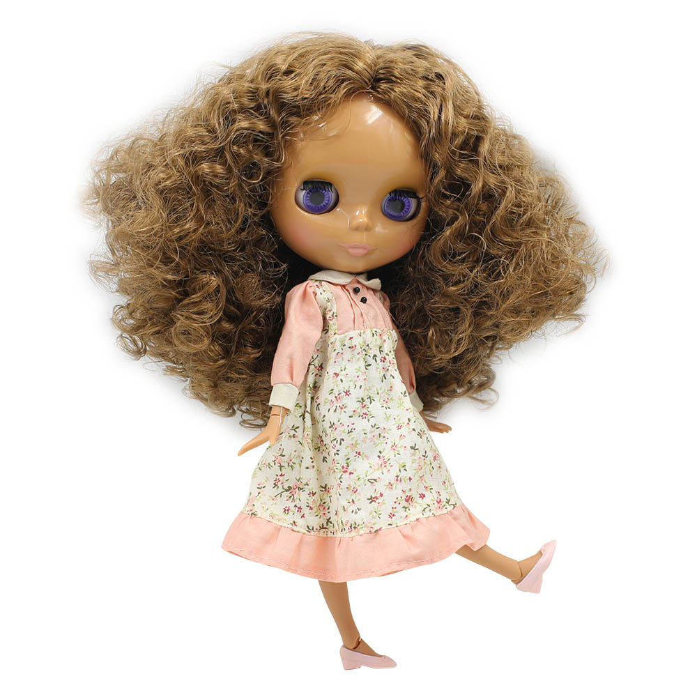 1 6 Blyth Nude Doll tan skin Brown Wild Curl Up Long Hair Joint Body 30cm