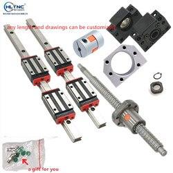 2 linear guide schienen 15mm HGR15 hgh15ca hgw15ca + 1 sfu1605 ball schraube mutter gehäuse jede länge + unterstützung BK/BF12 + kupplungen für CNC