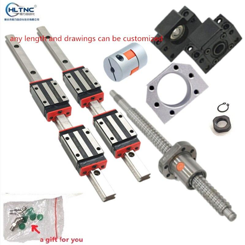 2 rails de guidage linéaires 15mm HGR15 hgh15ca hgw15ca + 1 sfu1605 écrou à billes boîtier toute longueur + support BK/BF12 + coupleurs pour CNC