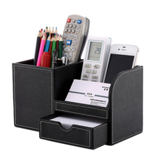 Buy holder card office and get free shipping on aliexpress pu multi function desk stationery organizer set pen holder with business card holder memo box reheart Images